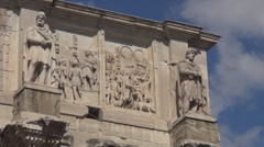 Arch of Constantine triumphal gate Rome landmark iconic place tourism attraction Stock Footage