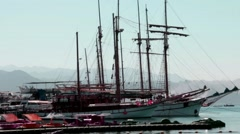 Luxury yachts  in Eilat awaiting departure. Israel - stock footage