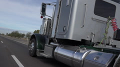Silver Shiny Semi Truck Cab Highway Stock Footage