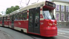 City centre tram (with audio) in The Hague, South Holland, Netherlands. Stock Footage