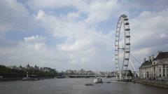 4K Time lapse London Eye at River Thames Stock Footage