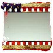 Grunge film strip frame with symbolic americans colors Stock Illustration
