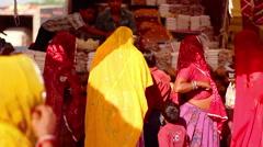 People at a street market circa in Deshnoke, India Stock Footage