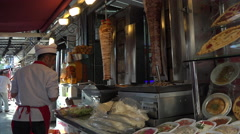 Istanbul Turkey Doner kebab rotisserie cafe 4K 083 Stock Footage