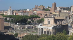 Aerial view Roman Forum traffic street Rome landmark historic place heritage day Stock Footage