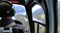 Pilot in the cockpit of the helicopter Stock Footage
