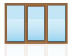 brown plastic transparent window view indoors illustration - stock illustration