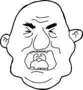 outline of yelling man - stock illustration