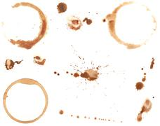 coffee rings and splatters - stock photo