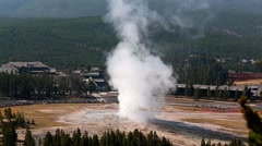 Old Faithful Geyser from Geyser Hill Overlook,Yellowstone NP Stock Footage