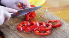 A fisherman chopped vegetables. Stock Footage