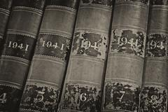 Old volume of library books from 1941 Stock Photos