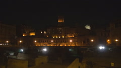 Forum Trajan night Rome heritage tourism attraction historic place italian icon  Stock Footage