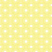 Yellow and white circles tiles pattern repeat background Stock Illustration
