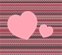 Stock Illustration of vector knitted pattern and heart applique