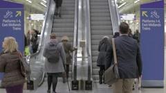 Escalators at St Pancras KIngs Cross Stock Footage