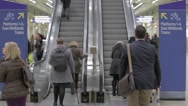 Stock Video Footage of Escalators at St Pancras KIngs Cross