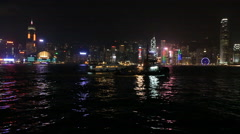 Beautiful night view of Hong Kong Island from Kowloon on the other side Stock Footage