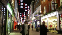 Carnaby street London Christmas shopping time lapse Stock Footage