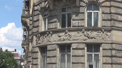 Lviv, old molding on the wall of a building Stock Footage