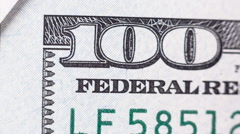 Abstract Detail of the Newly Design U.S. One Hundred Dollar Bill. Stock Footage