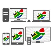 electronic devices with the map of south africa - stock illustration
