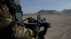 Nh90 machine gun minigun gatlig Stock Footage