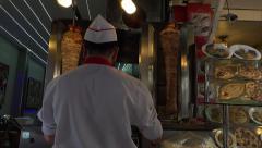Istanbul Turkey Doner kebab rotisserie cook 4K 082 Stock Footage