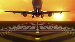 Animation of Airplane takes off from Airport Runway at Sunset Stock Footage