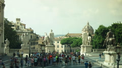 Piazza del Campidoglio on Capitoline Hill in Rome, time lapse Stock Footage