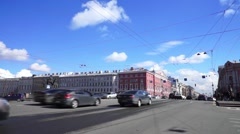 Day traffic at Anichkov bridge across Fontanka river, St. Petersburg Stock Footage