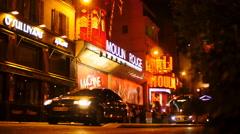 Crowds outside Moulin Rouge in Paris TL 4K Stock Footage