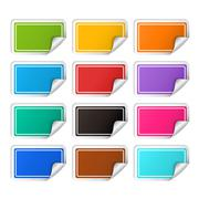 Vector realistic rectangular colorful stickers set Stock Illustration