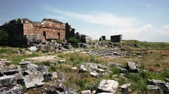 Ruins Of The Ancient Amphitheater - stock footage