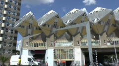 Stock Video Footage of The Cube houses (Kubuswoningen) designed by Piet Blom, Rotterdam, Netherlands.