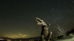 4K Fisheye time lapse zoom out and rotate of dinosaur with startrails Stock Footage