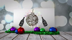 New years graphic on poster with decorations Stock Footage