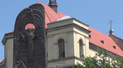 Lviv, Shevchenko sculpture Stock Footage