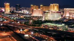 Las Vegas Skyline Panning Night Time Lapse - stock footage
