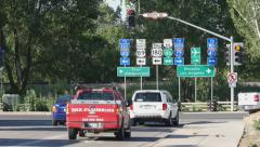 Route 66 Highway Signs in Flagstaff Stock Footage
