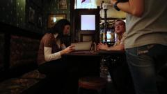 Man And Woman In The Pub Making Order Stock Footage