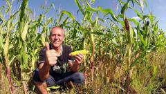 Successful Agriculturist in Front of His Corn Field Stock Footage