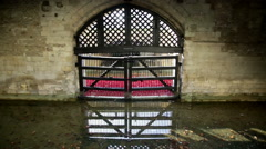 Traitor's gate from inside the Rower of London Stock Footage