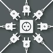 Plugs around outlet Stock Illustration