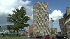 Elaborate town block with Euromast tower behind in Rotterdam, Netherlands. Stock Footage