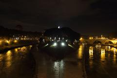 tiber island at night - stock photo