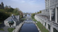 4K Time lapse Rideau Canal with locks, Ottawa, Canada Stock Footage