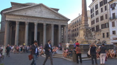 The Pantheon building crowded square obelisk monument Rome tourism attraction  Stock Footage