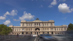 Timelapse Supreme of Court Cassation Rome downtown traffic car busy avenue day Stock Footage