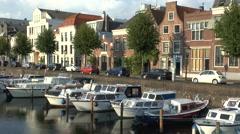 Stunning evening view along Aelbrechtskolk, Delfshaven, Rotterdam, Netherlands. Stock Footage